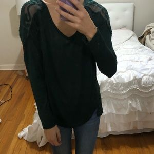 Free People Forest Green Loose Fitting Top